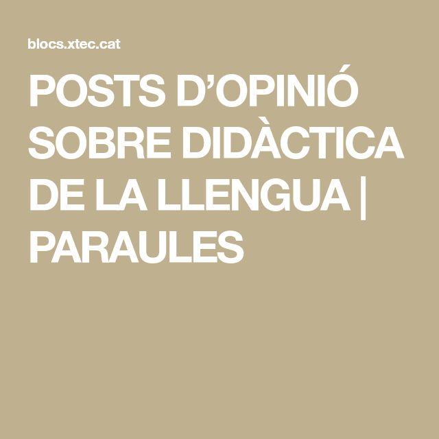 POSTS D'OPINIÓ SOBRE DIDÀCTICA DE LA LLENGUA   PARAULES