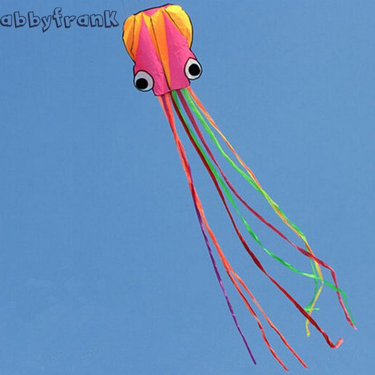 Abbyfrank Software Octopus Kite 3D Nylon Beach Flying Kite Octopus Outdoor Sport Colorful Aquilone Travel Waterproof Toys Child
