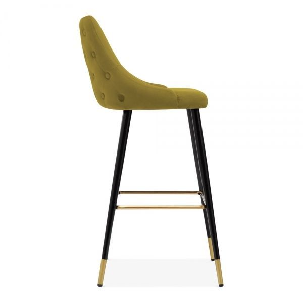 Lucia Bar Stool With Backrest Velvet Upholstered Mustard 76cm Bar Stools Bar Stools Uk Velvet Footstool