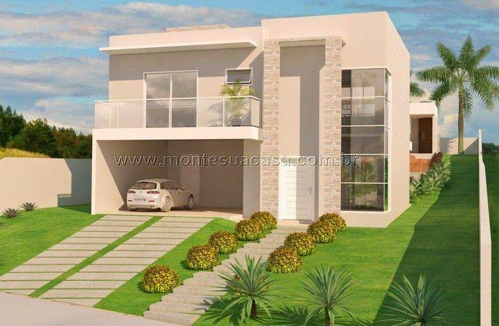 Fachada de casa com terreno quadrado pesquisa google for Casa moderna 2 andares 3 quartos