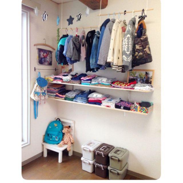 子供部屋はほぼDIYでできています/6畳/ハンガーラック/ショップ風を目指して/収納…などのインテリア実例 - 2015-01-19 16:12:20   RoomClip(ルームクリップ)