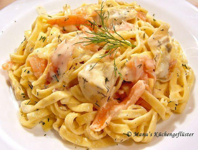 Pasta an Lachs-Sauce