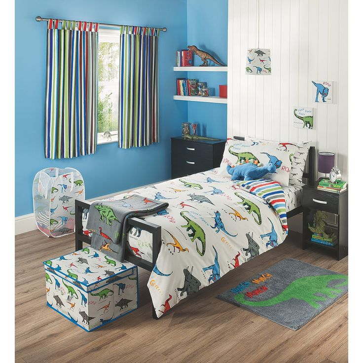 Dinosaur Boys Bedroom Find ideas and inspiration to design a roaring new room for your son from our dinosaur themed bedroom. Our inspiration room has a storage bed to tuck away toys and extra clothes.