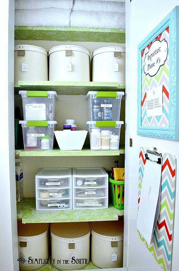 Hall closet organization for medicines and odds n ends Small home organization