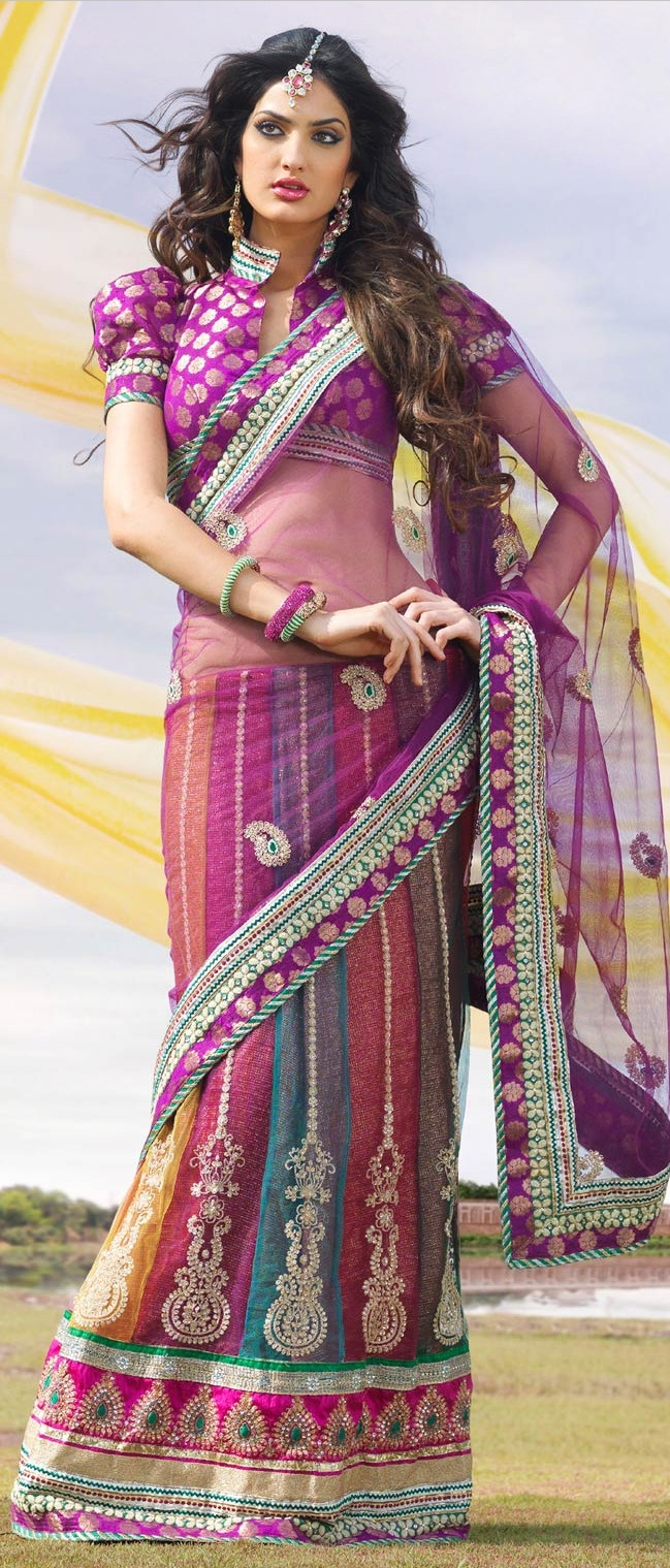 #Purple Net #Lehenga Style #Saree With Blouse