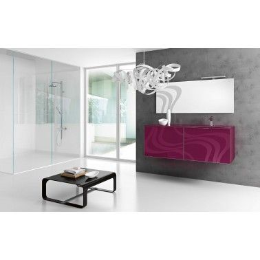 Washbasin base unit with 2 drawers, in Malva High Gloss  Finish and Glass Top in Malva color  with mounted washbasin.