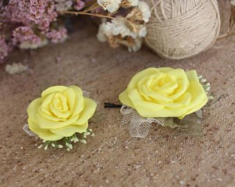 Yellow rose hair pin,Wedding hair clip,Bridal Bridesmaid Hair bobby Pin,Lemon Yellow Flower hair pin,Woman girl hair pin,Bridal Hair Piece