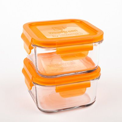 wean green glass lunch containers 490ml