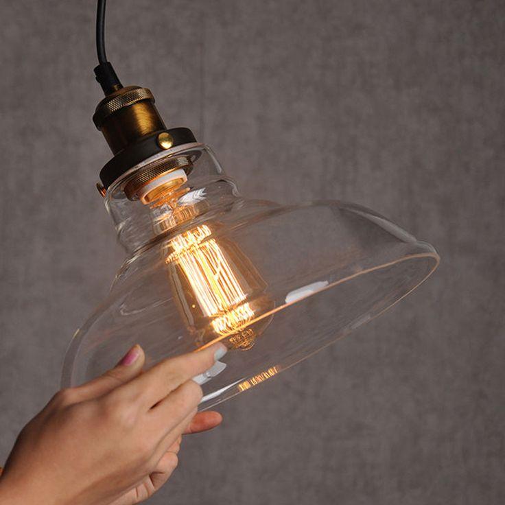 Industriel américain pendentif lampe Vintage verre lampes suspendues suspendus lumières Bar Cafe lampes appareils Edison E27 220 / 110 V ampoule