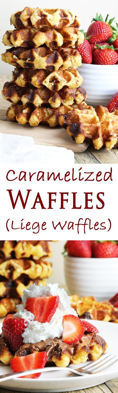 Caramelized Waffles (Liege Waffles). These waffles are caramelized on the outside, and chewy on the inside. Belgian pearl sugar is the key ingredient.(see recipe for DIY pearl sugar - -also on this board!)