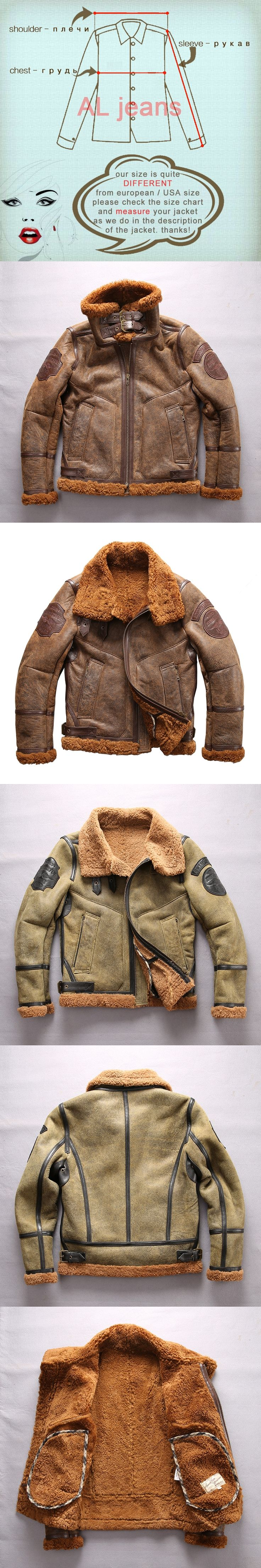 european size high quality super warm genuine sheep leather jacket mens big size B3 shearling bomber military fur jacket 8001