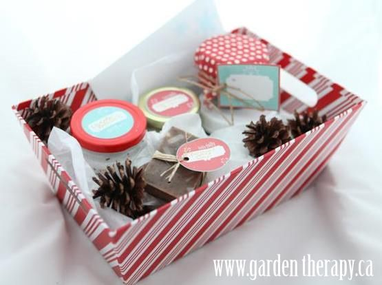 Free printable holiday Christmas candy cane canning labels and gift tags in gift box