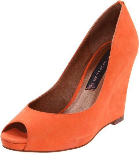 e6665ebd93722 STEVEN by Steve Madden Women s Khen Wedge Sandal,Orange Nubuck,6.5 M US  STEVEN