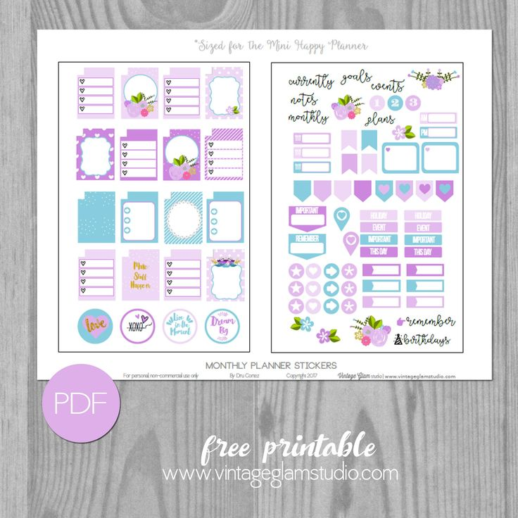 Free Printable Monthly Planner Stickers for the Mini Happy Planner from Vintage Glam Studio