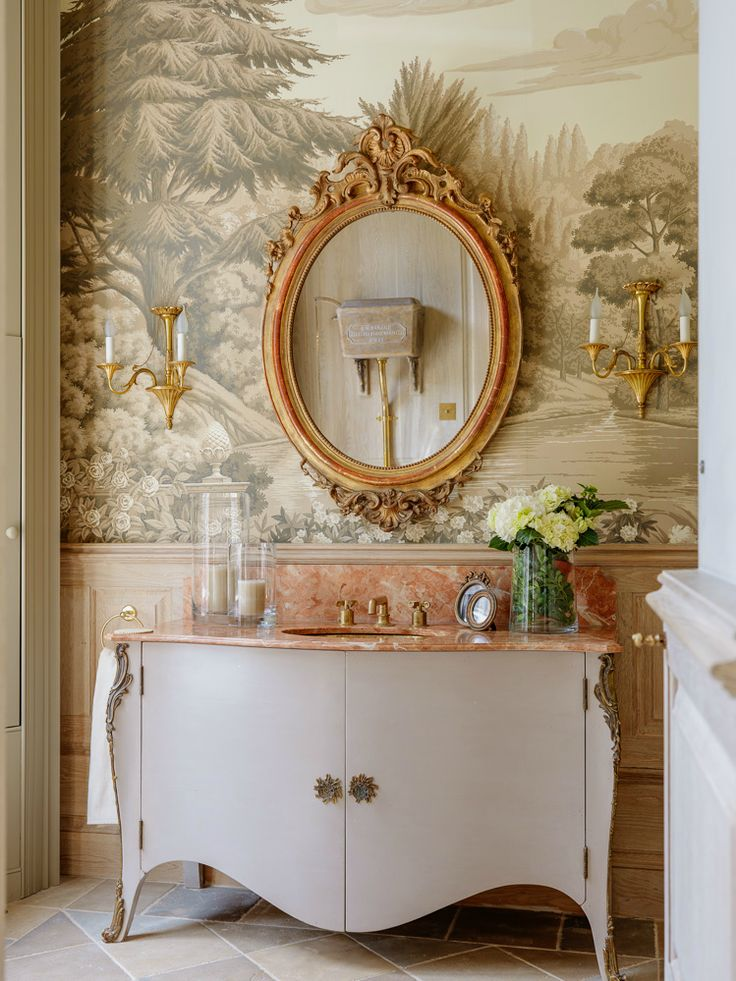 French mode Vanity Antique Gold Mirror