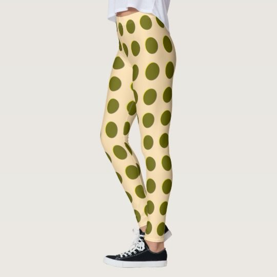 Polka dot regular pattern, gold circles dots ovals leggings