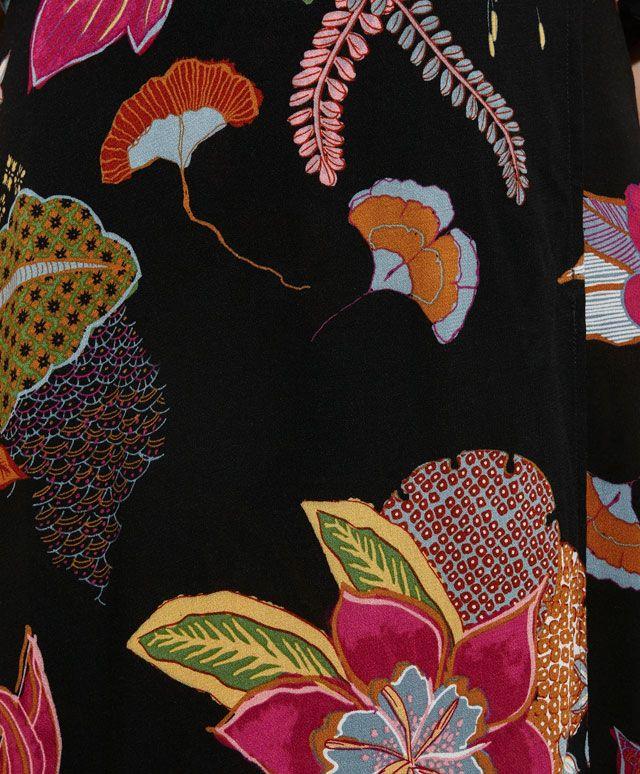 Robe longue imprimé fleur orientale manches courtes - OYSHO
