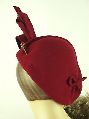 VINTAGE-HAT-1940s-FRENCH-RUBY-RED-ASYMMETRIC-SCULPTED-FELT-LADIES ...
