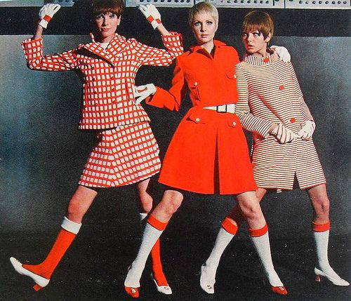 1960s Mod Women Girls Ladies Models Red White Belts Shoes Jackets Gamine Vintage Photo.