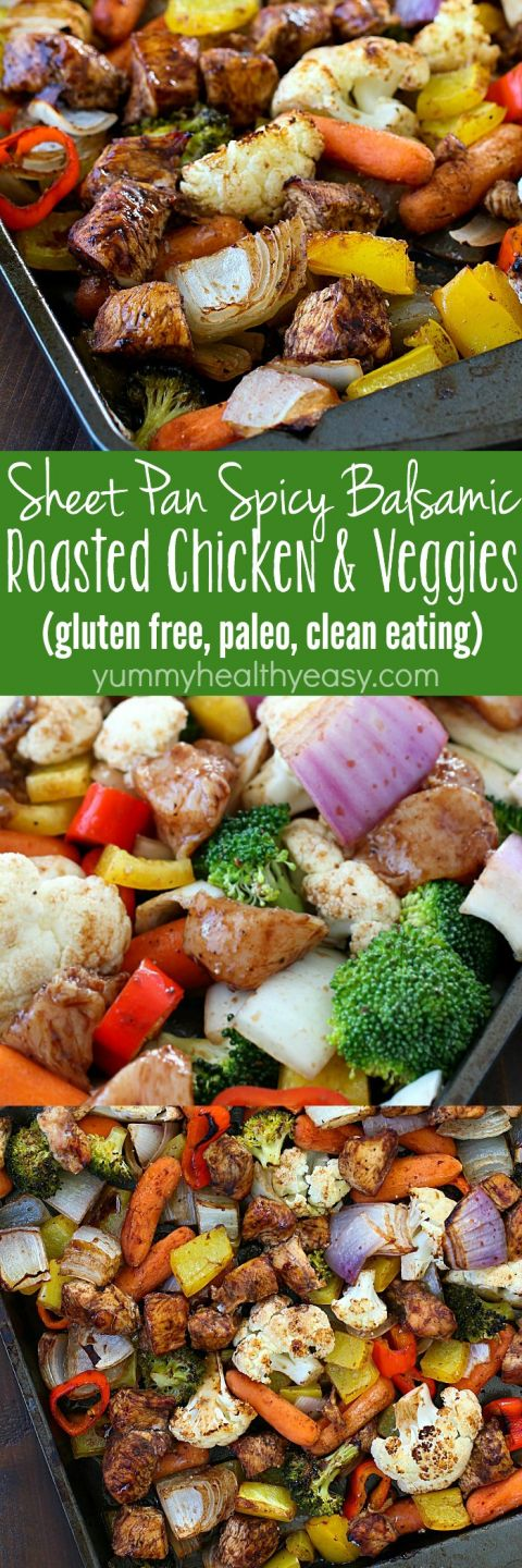 Sheet Pan Spicy Balsamic Roasted Chicken & Veggies for the WIN!! This dinner is full of fiber-filled veggies and lean chicken, tossed in a spicy balsamic sauce and then baked on a sheet pan. Easy peasy and gluten free, high protein, paleo and clean eating!