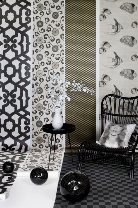 Wallpapers For The Black And White Interior
