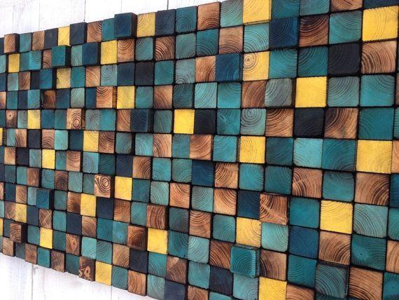 CUSTOM MADE Wooden Headboard Wooden Wall Art Mosaic by WallWooden