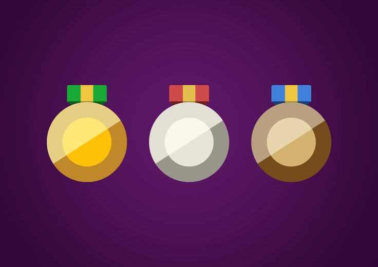 Medals flat UI icons. Designed in Photoshop.