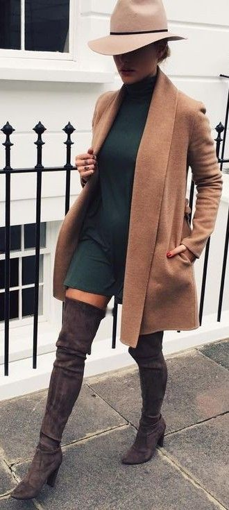 Fall Neutrals Street Style | Caroline Receveur -LOVE IT! Throw on a camel blazer/jacket over a swing dress, OTK boots, and a cute fedora and you are EFFORTLESSLY slaying! -You can fall/winterize swing dresses with your outerwear and some knee high or OTK boots