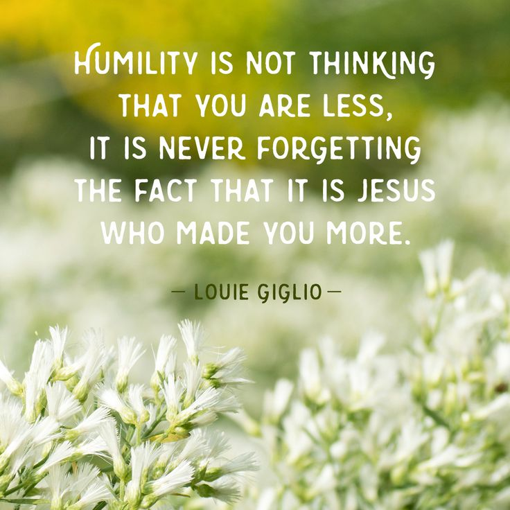 Humility is not thinking that you are less, it is never forgetting the fact that it is Jesus who made you more. – Louie Giglio