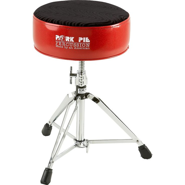 Pork Pie Round Drum Throne Red with Black Swirl Top