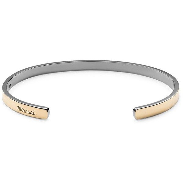 Miansai 14K Yellow Gold & Sterling Silver Cuff Bracelet ($450) ❤ liked on Polyvore featuring men's fashion, men's jewelry, men's bracelets, mens gold bracelets, mens yellow gold bracelets, mens sterling silver bracelets, mens watches jewelry and mens 14k gold bracelets