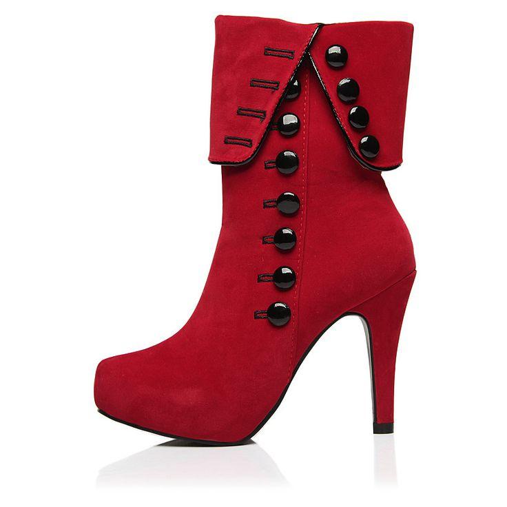 Herbst-Winter-Frauen Stiefeletten High Heels 2015 Fashion Red Shoes Woman Platform Flock Boots Damenschuhe (37, schwarz)