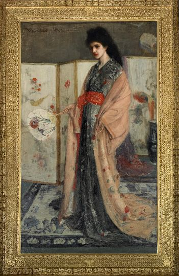"The ""Princess from the Land of Porcelain"" hangs in the Peacock Room. The painting was part of a series of costume pictures Whistler made in the mid-1860s, in which Western models appear in Asian dress, surrounded by Chinese and Japanese objects from the artist's own collections of porcelain, lacquer, fans, and painted screens. http://www.asia.si.edu/collections/singleObject.cfm?ObjectNumber=F1903.91a-b F1903.91a-b"