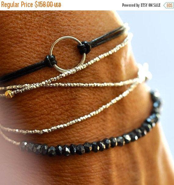 Valentine SALE Silver beads bracelet - wrap bracelet - delicate bracelet