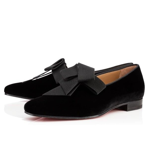 Christian Louboutin Mr Grant Flat Black Velvet Loafers Mens