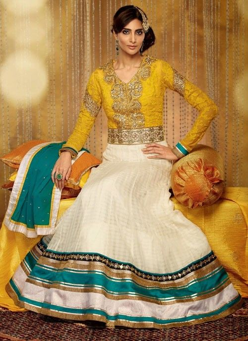 #Mustard & #Ivory Gorgeous #Suit With #Embroidery Work