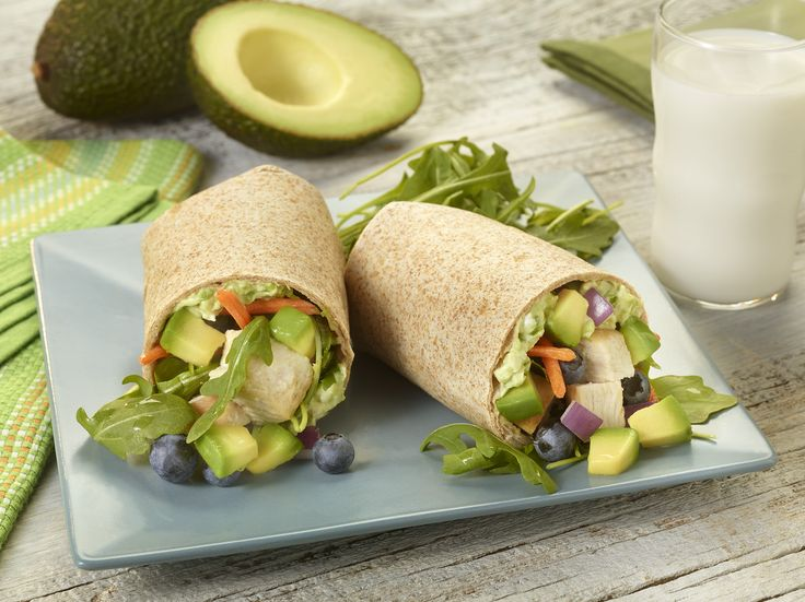 Fresh avocado doubles for dressing and filling complementing blueberries, carrots, arugula and chicken in this appetizing summer wrap.