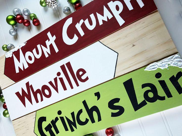 Grinch Christmas Decor- Christmas Arrows- Grinch Decor- Wood Christmas Sign- Christmas Decoration- Whoville Christmas- Holiday Decoration by WoodlandAffair on Etsy https://www.etsy.com/listing/489621719/grinch-christmas-decor-christmas-arrows