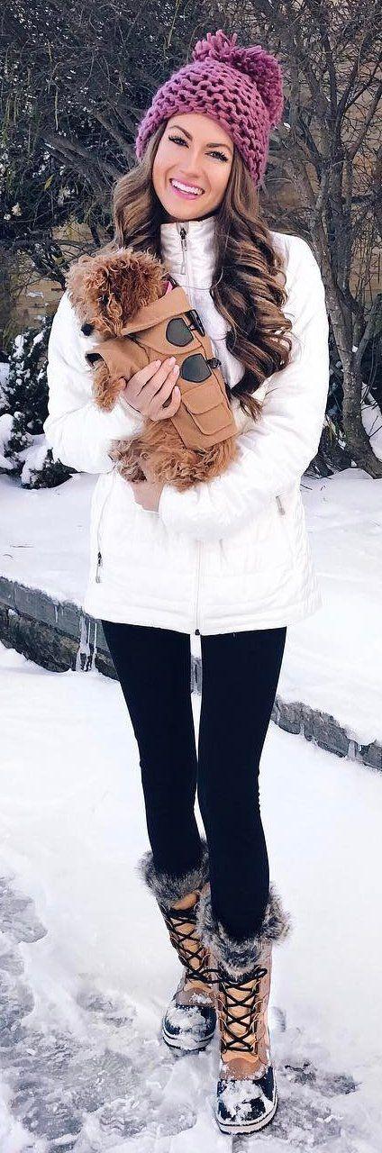 #winter #fashion /  Burgundy Beanie / White Coat / Black Leggings / Snow Boots