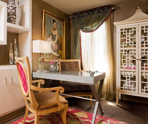 via desiretoinspireDesks Area, Office Spaces, Sheer Curtains, China Cabinets, Home Offices Decor, Wall Storage, Offices Spaces, Windows Treatments, Chinoiserie Wallpapers