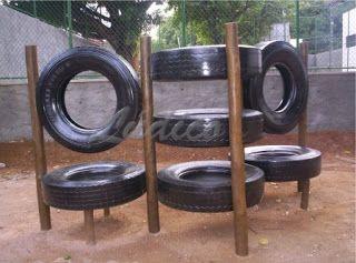 Idéias para campos e jardins: Playground com pneus                                                                                                                                                                                 Mais