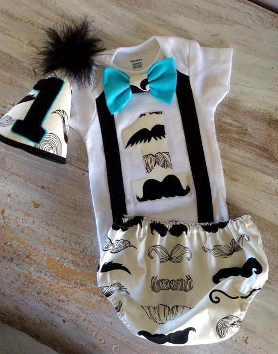3 PC Boys Mustache Birthday Outfit