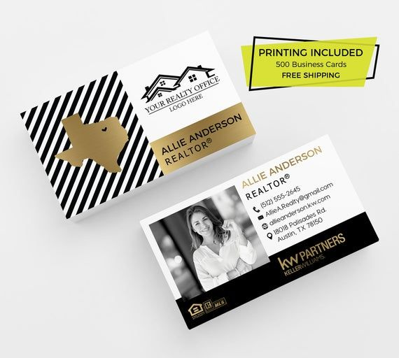 Gold Striped Realtor Printed Business Card 500 Printed Etsy Printing Business Cards Keller Williams Business Cards Realtor Business Cards