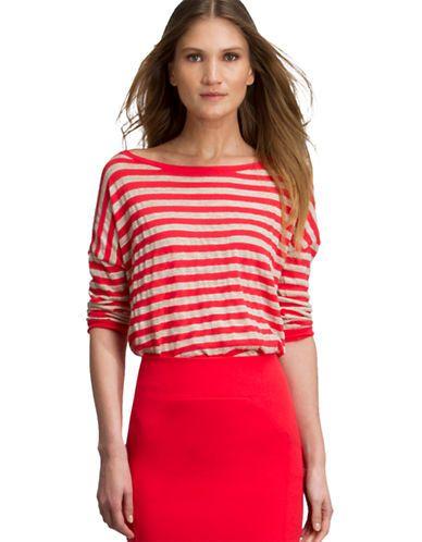 HALSTON HERITAGE Linen Striped Sweater