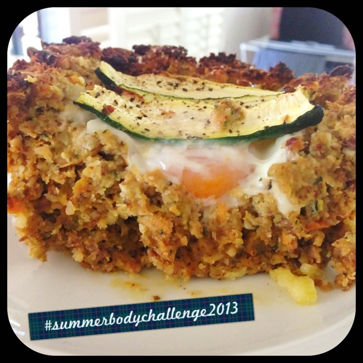 """Ma...The Meatloaf!!""  I made turkey mince meatloaf. Mixed a whole lot of this and that. Mixed in with quinoa & wholemeal breadcrumbs.  Scooped out the top, cracked a few eggs and placed sliced zucchini on top.  Cooked in the oven for approx 30mins.  #31daytransformation #nomnomnom #summerbodychallenge2013 #crapfree"