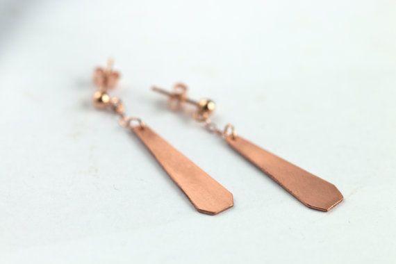 Geometrische driehoek oorbellen // lange koperen dangle oorbellen / 14k rose goud // cadeau voor haar // handgemaakt