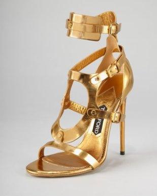 Tom Ford – Triple-Buckle Metallic Sandal, Gold $1,450 (via Gladiator Shoe is in for Spring 2013) http://wp.me/p2GhXF-Li