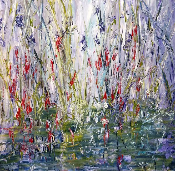 Wildflowers Along The Creek 30x30 inches is an acrylic on canvas painting by Hanna MacNaughtan, copyright 2018.