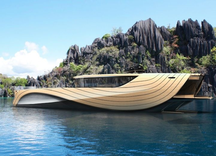 The bamboo yacht also has many sustainable features. Utilizing both solar glass panels and and a wind belt, the ship is both solar and wind powered. The boat uses two electrical engines and the walls in the engine room take in excess heat, converting it back into energy.