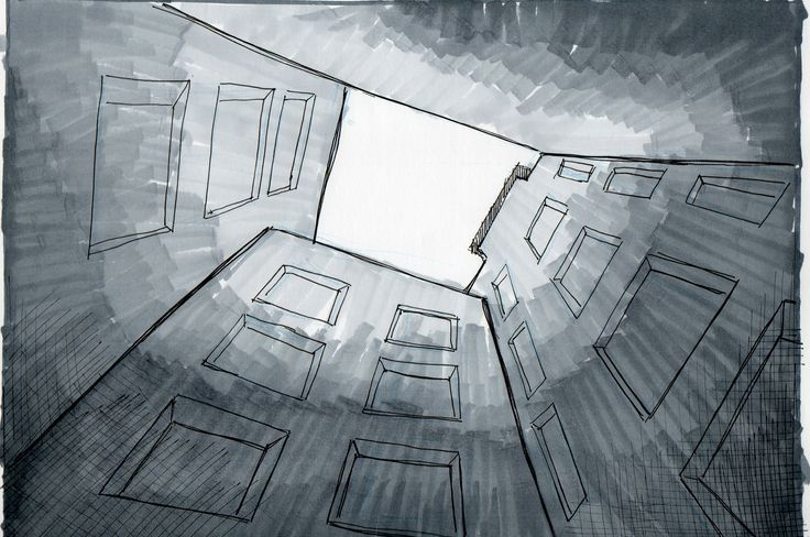Entre edificios-Barrio Lastarria. (croquis Camicc)